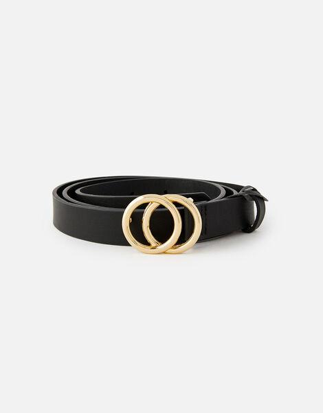 Double Hoop Skinny Belt  Black, Black (BLACK), large
