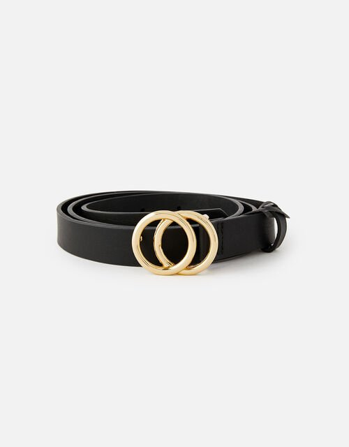 Double Hoop Skinny Belt , Black (BLACK), large