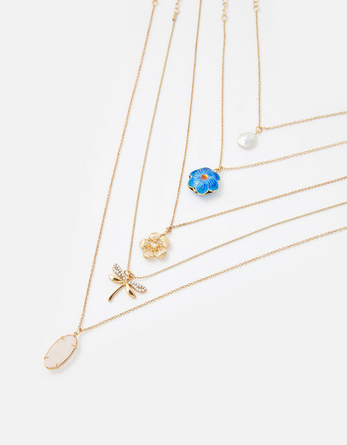 Flower and Dragonfly Necklace Set, , large