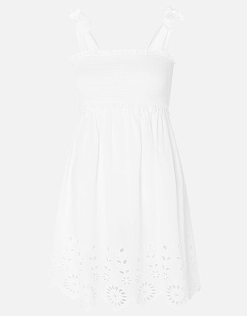 Broderie Hem Bandeau Dress, White (WHITE), large