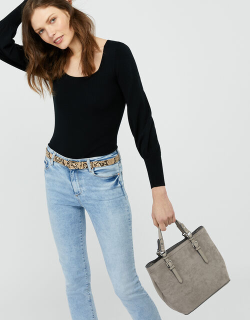 Betty Handheld Bucket Bag, Grey (GREY), large