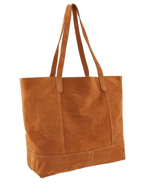 Leather Tote Bag, Tan (TAN), large