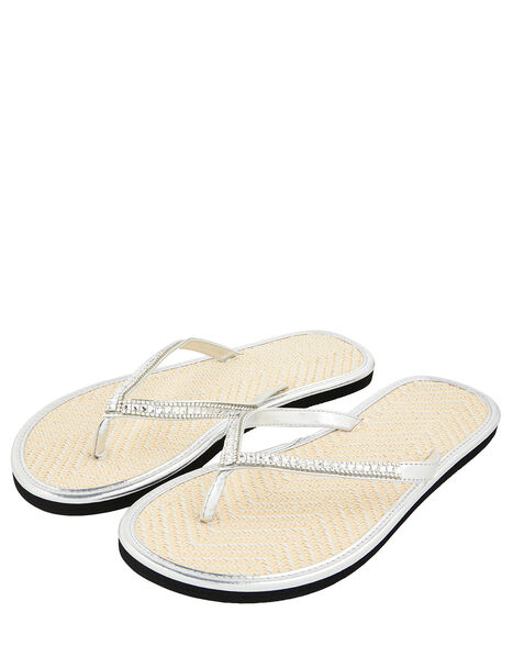 Crystal Flip Flops with Seagrass Footbeds Silver, Silver (SILVER), large