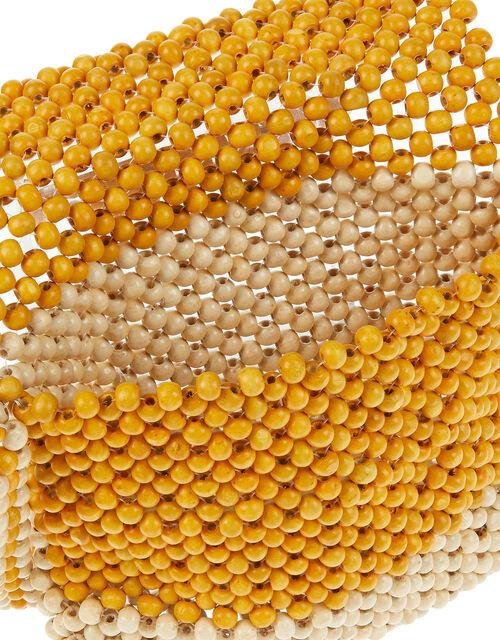 Wooden Bead Cross-Body Bag, Yellow (OCHRE), large