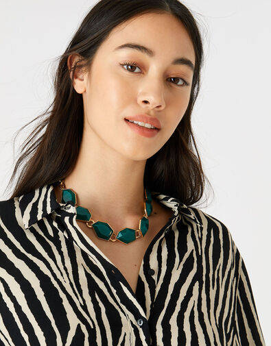 Reconnected Statement Stone Collar Necklace, , large