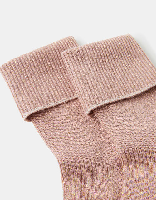 Turndown Ribbed Sparkle Ankle Socks, , large