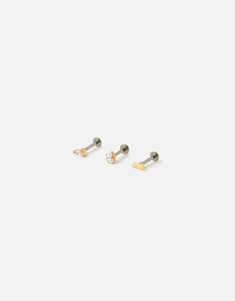 Gem and Pearl Flat-Back Stud Set, , large