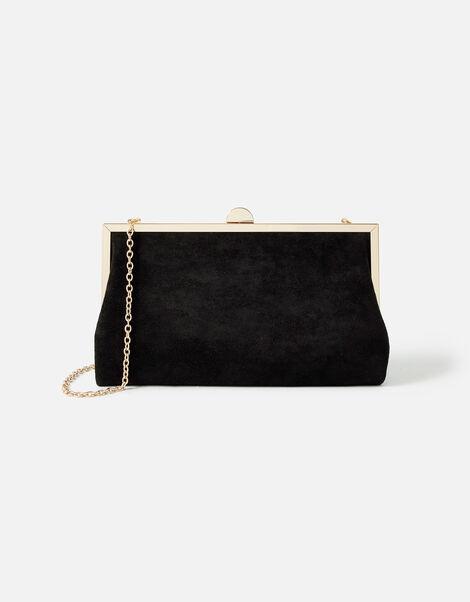 Suedette Clipframe Clutch Bag Black, Black (BLACK), large
