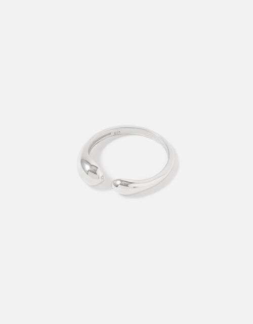 Sterling Silver Molten Wrap Ring, Silver (ST SILVER), large