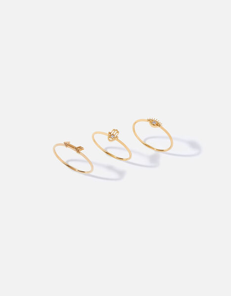 Gold-Plated Talisman Stacking Rings Gold, Gold (GOLD), large