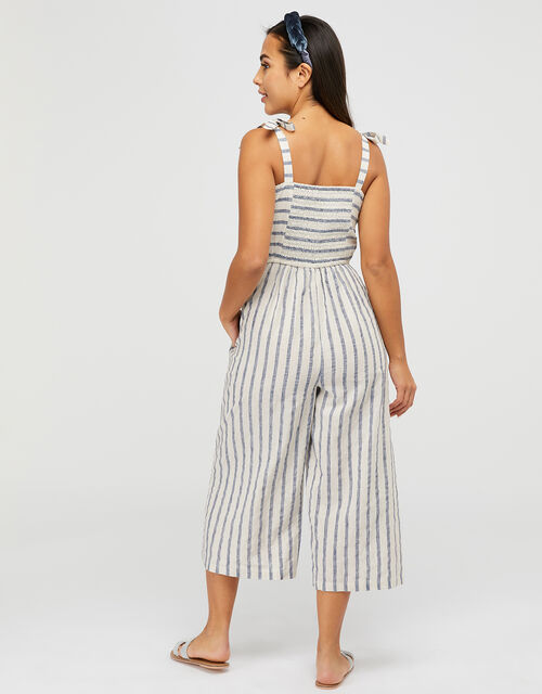 Cotton Stripe Jumpsuit, Natural (NATURAL), large