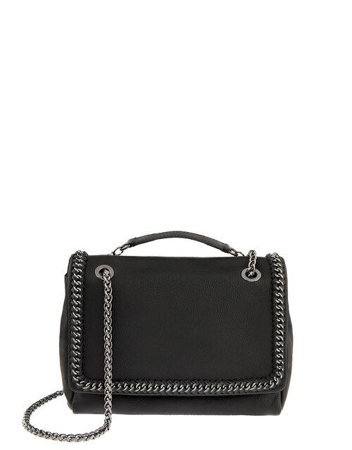 Georgia Leather Chain Trim Bag, , large