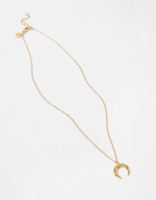 Gold-Plated Crescent Pendant Necklace, , large