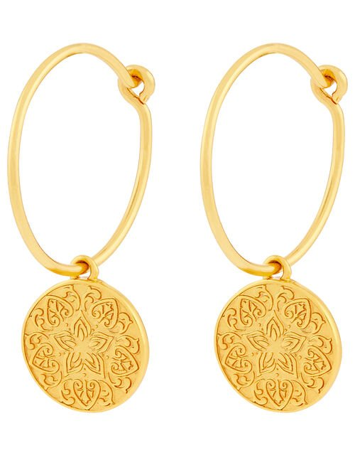 Gold-Plated Lotus Flower Huggie Hoop Earrings, , large