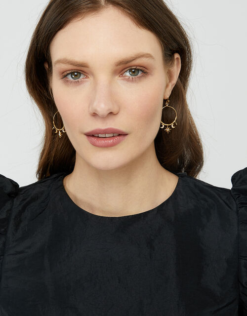 Gold-Plated Star and Moon Earrings with Swarovski® Crystals, , large