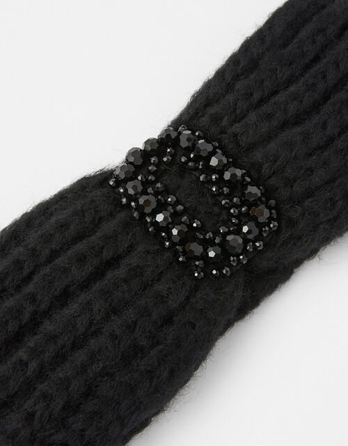 Jewelled Knit Bando, Black (BLACK), large