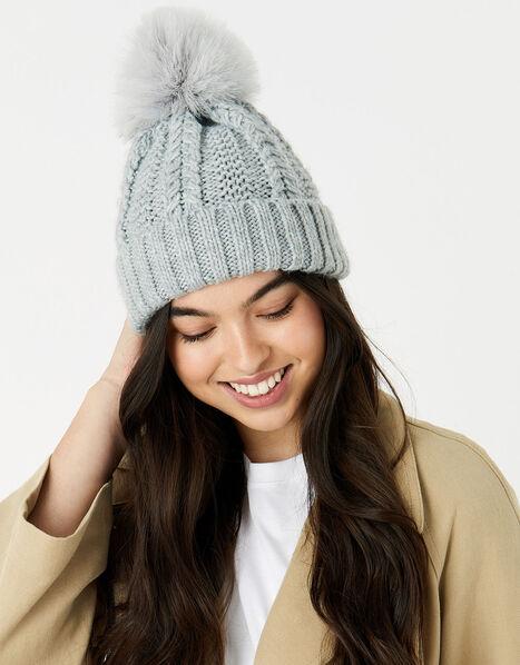 Chunky Knit Pom-Pom Beanie Grey, Grey (GREY), large