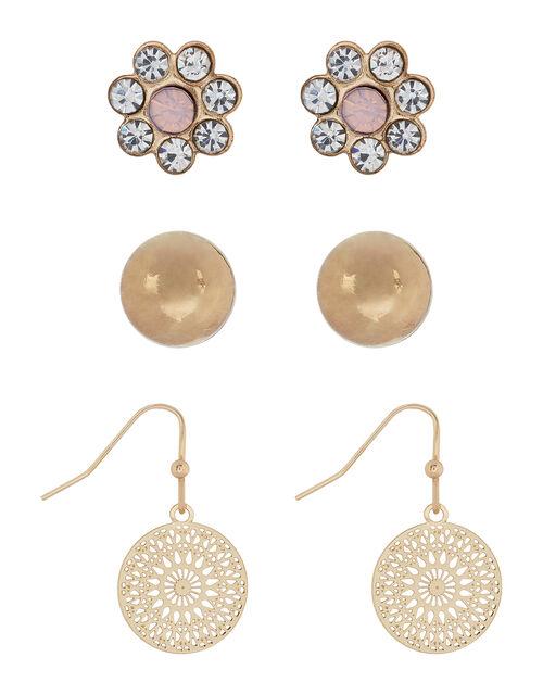 Filigree, Ball and Flower Earring Set, , large