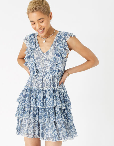 Floral Ruffle Mini Dress Blue, Blue (BLUE), large