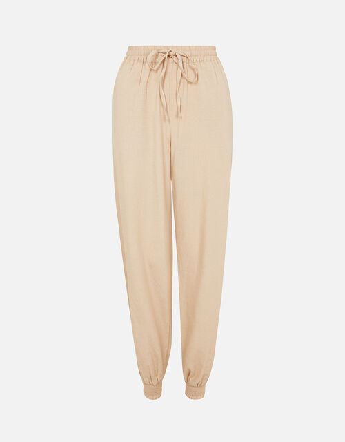 Drawstring Joggers in Linen Blend, Cream (TAUPE), large