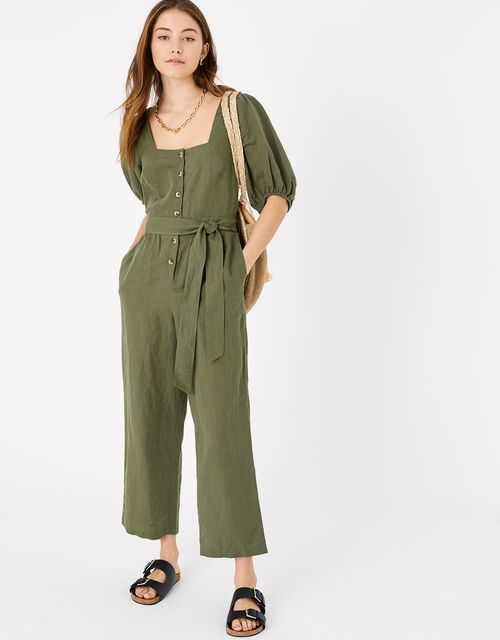 Puff Sleeve Jumpsuit in Linen Blend, Green (KHAKI), large