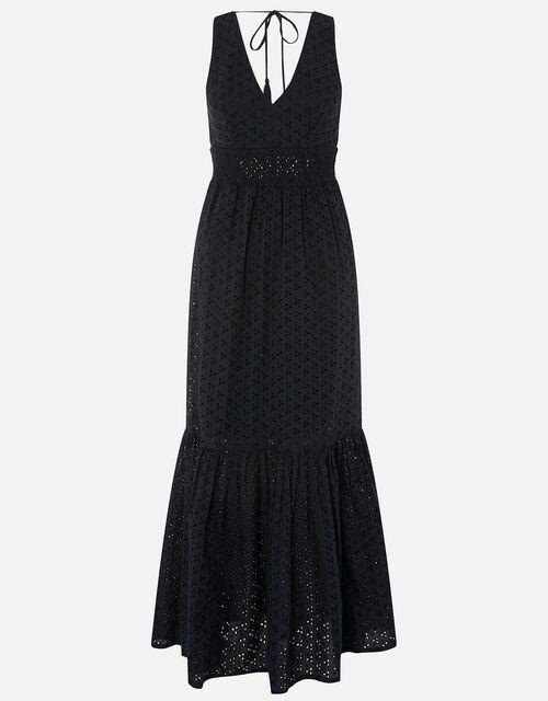 Broderie Maxi Dress, Black (BLACK), large