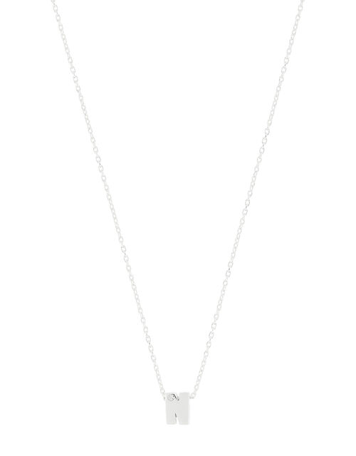 Sterling Silver Sparkle Initial Necklace - N, , large