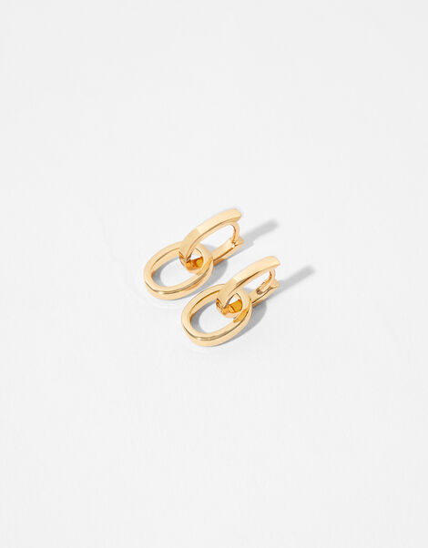 Gold-Plated Link Drop Earrings, , large