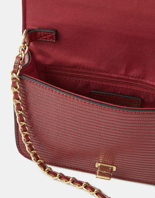 Evie Reptile Cross-Body Bag, Red (RED), large