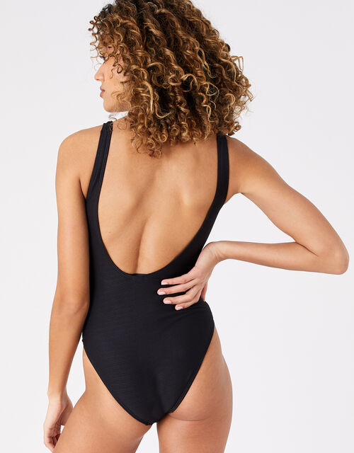 Lace-Up Eyelet Swimsuit with Recycled Polyester, Black (BLACK), large