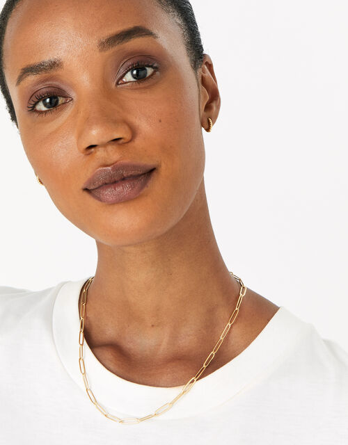 Gold-Plated Oval Link Chain Necklace, , large