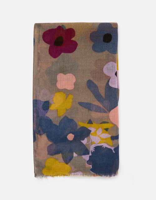 Flower Meadow Print Scarf, , large