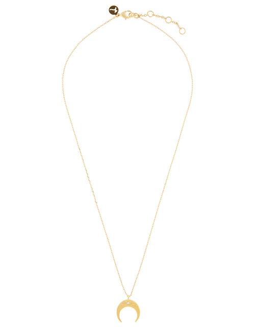 Sparkle Star Set Horn Pendant Necklace, , large