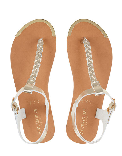 Plaited Strap Sandals, Gold (GOLD), large