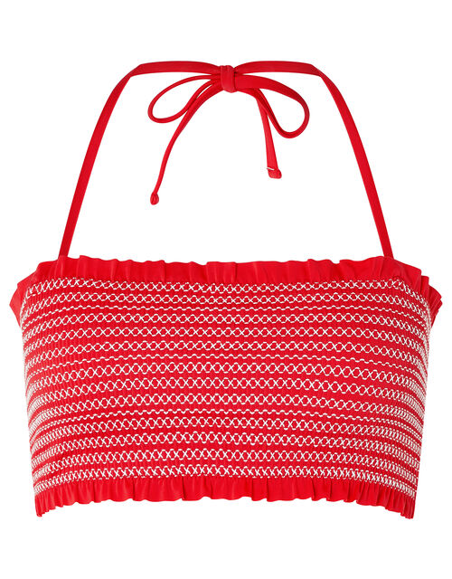 Smocked Bandeau Bikini Top with Recycled Polyester, Red (RED), large