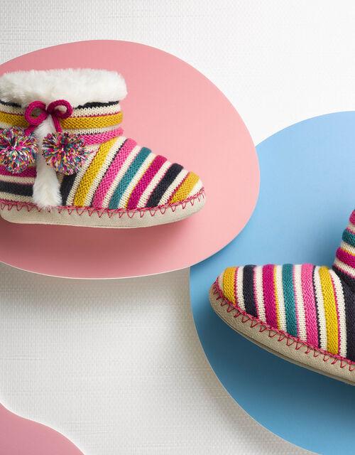 Girls Stripe Slipper Boots, Multi (BRIGHTS-MULTI), large