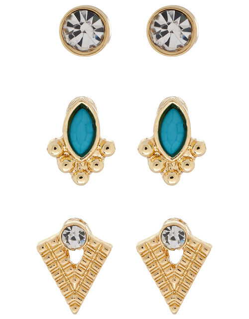 Turquoise Stud Earring Set, , large