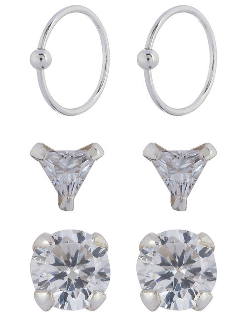 Sterling Silver Crystal Nose Stud Set, , large