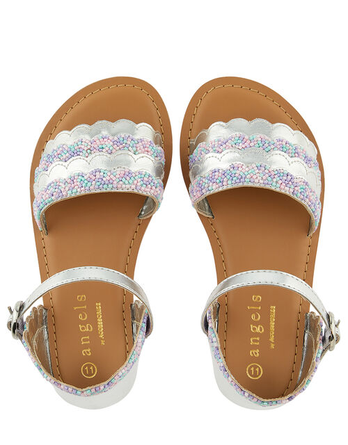 Mermaid Metallic Beaded Sandals, Multi (PASTEL-MULTI), large