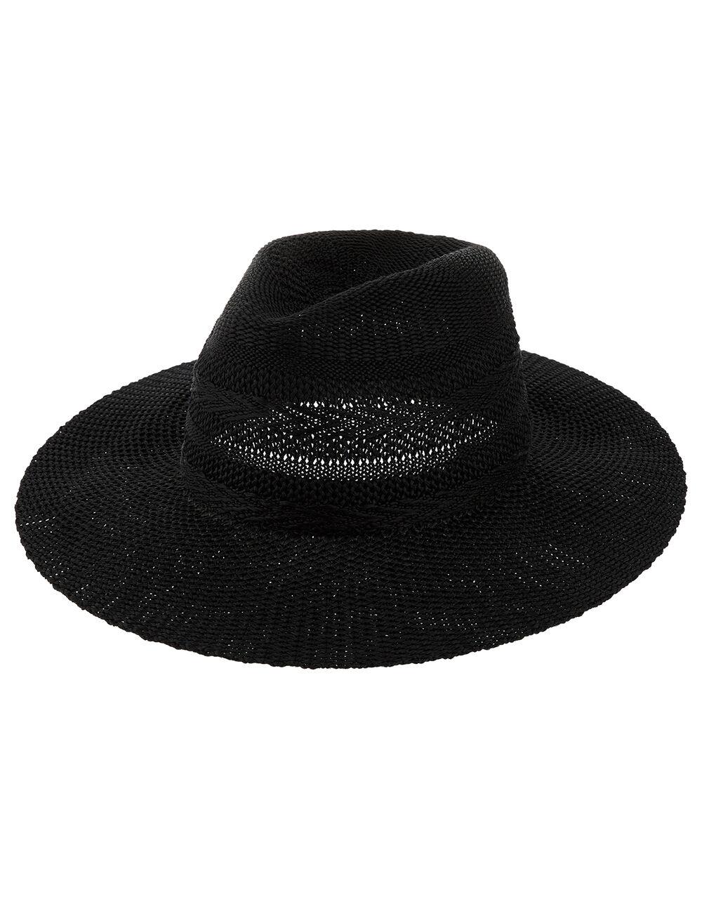 Chevron Packable Fedora Hat, Black (BLACK), large