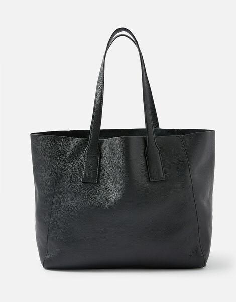 Melinda Large Leather Shopper Black, Black (BLACK), large