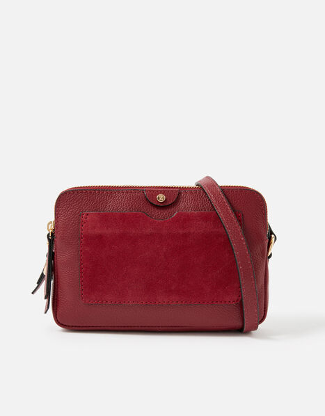 Hanna Double Zip Leather Cross-Body Bag  Red, Red (RED), large