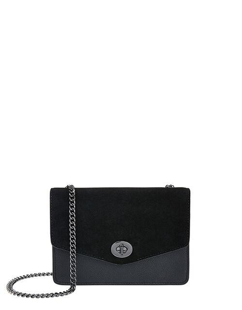 Clara Leather Cross-Body Bag, Black (BLACK), large