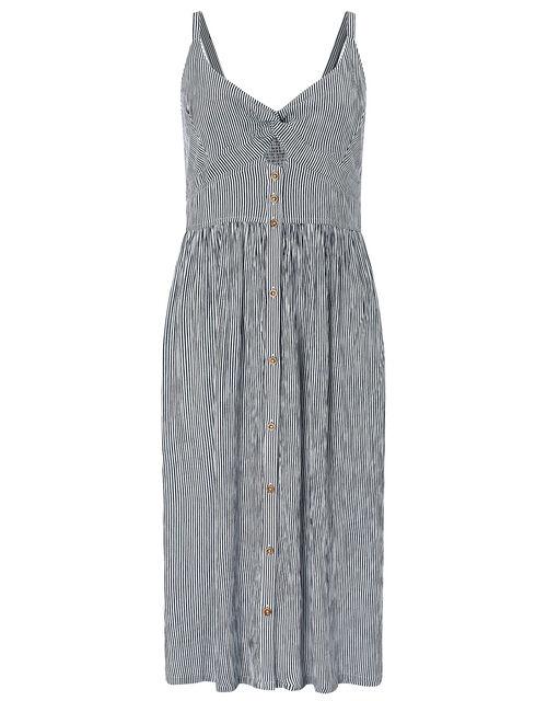 Striped Cotton Midi Dress, Blue (NAVY), large