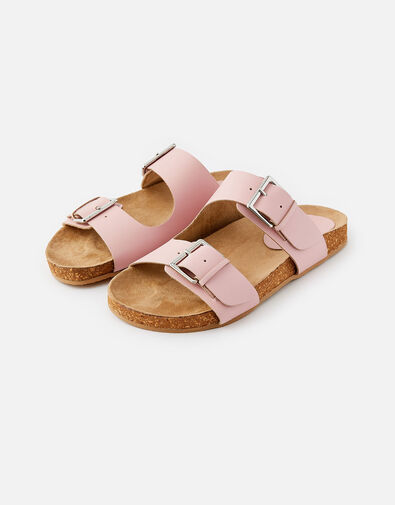 Buckle Footbed Leather Sandals  Pink, Pink (PINK), large