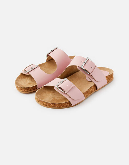 Buckle Footbed Leather Sandals , Pink (PINK), large