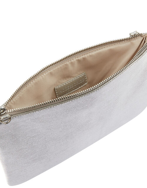Zip Clutch Bag, Silver (SILVER), large