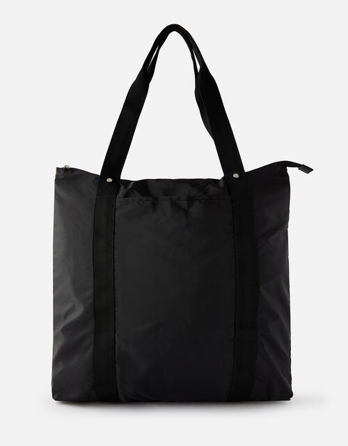 Packable Shopper Bag, Black (BLACK), large