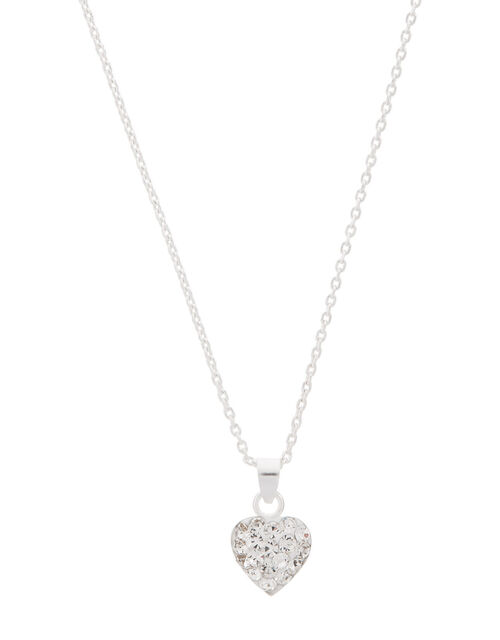 Sterling Silver Pave Heart Necklace, , large