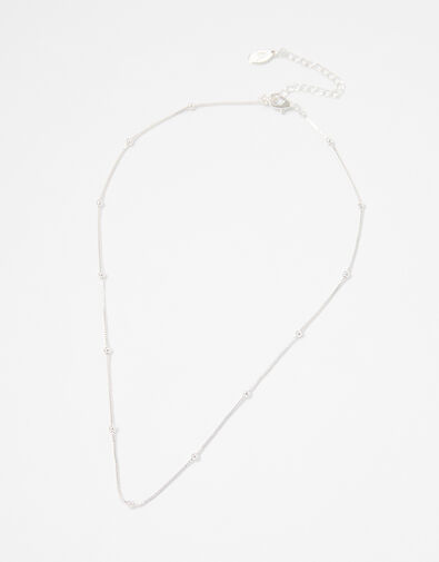 Beaded Chain Necklace Silver, Silver (SILVER), large